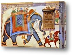 india, jaipur: popular frescoes