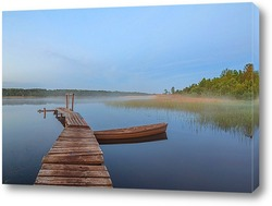 Постер Туманное утро на озере