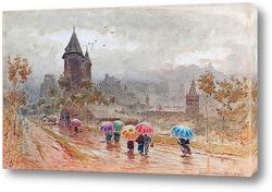 Картина Сион, Долина Роны, дождливый городской пейзаж с зонтиками