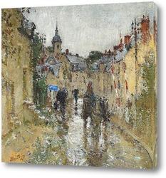 Деревня под дождем