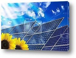 Постер Pannelli solari con girasoli