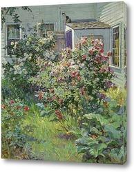 Картина Задний двор с кошкой