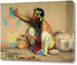 Индеец исследующий Одеяло