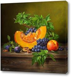 Постер Натюрморт с тыквой и виноградом
