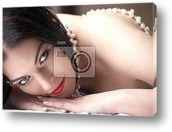 Sensual naked young Black haired adult Caucasian woman