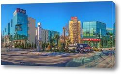 Постер  Стеклянная архитектура на улице Навагинская. Январь в курортном городе Сочи