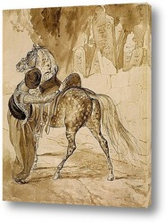 Постер Турок , седлающий коня
