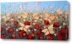 Картина Картина маслом. Маковое поле с бабочками.  Холст 30х60