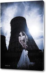 Постер Нагая девушка на фоне электростанции