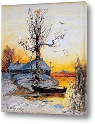 Зимний пейзаж в лучах вечернего солнца