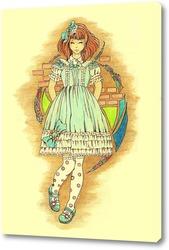 Постер Девочка с бирюзовым бантом