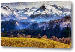Картина В горах Кавказа