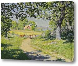 Постер На шоссе - ферма летом, зелень