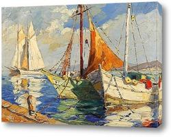 Постер Лодки в гавани Средиземного моря