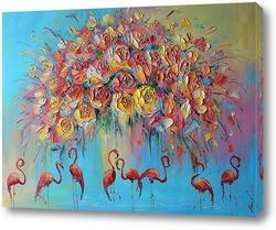 Постер Красный фламинго