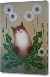 Постер кот в одуванчиках