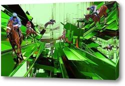 Постер Abstract horse racing