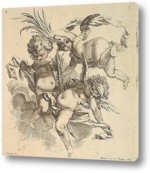 Картина Трое детей среди облаков возле пальмовых листьев