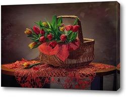 Постер Корзинка тюльпанов
