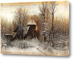 Картина Зимний пейзаж с церковью