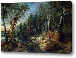 Картина Пастырь с паствой в древесном пейзаже