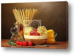 Постер Spaghetti, noodles in bowl, jar of oil and vegetables