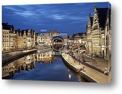 Постер GENT - Korenlei and Graselie street - Belgium.