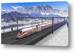 Постер Железнодорожная станция в горах с поездом высокой скорости