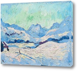 Картина Зимний пейзаж Малоя с видом на горы Форноталь