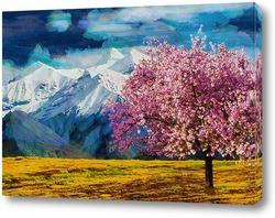 Постер Одинокое дерево в горах