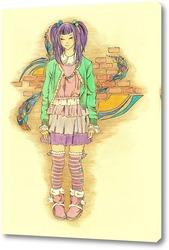 Постер Девочка в полосатых чулочках