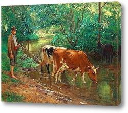 Пасторальный пейзаж с коровами