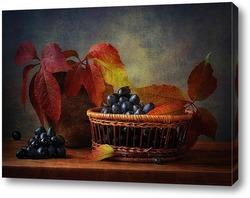 Постер композиция с виноградом и осенними листьми
