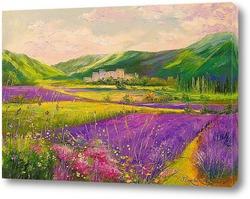 Картина Лавандовые поля у гор