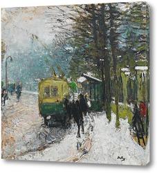 Трамвай под снегом