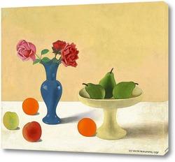 Картина Натюрморт с грушами и голубой вазой