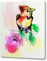Акварельная пташка