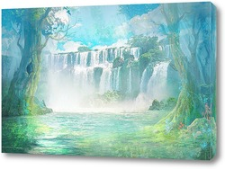Постер Водопад в лесу