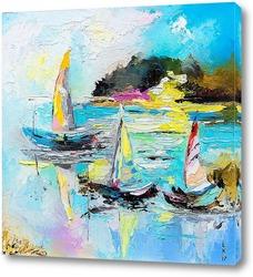 Постер Лодки на озере