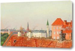 Вид на крыши Копенгагена из мастерской художника
