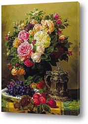 Натюрморт с розами, виноградом и сливой