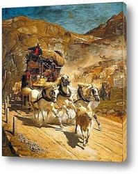 Лошадей перед приближающейся грозой