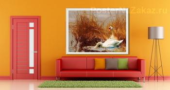Модульная картина Лебеди на воде