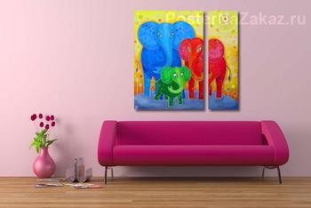 Модульная картина Семья слонов