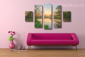 Модульная картина Рассвет на берегу реки