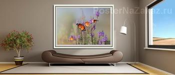 Модульная картина Бабочки - Цветочки