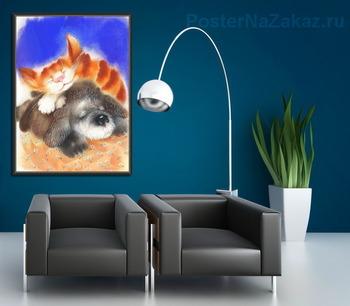 Модульная картина Пёс и кот