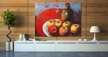 Модульная картина Яблоки, вино и красная скатерть