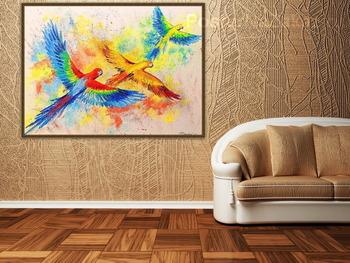 Модульная картина Полет попугаев