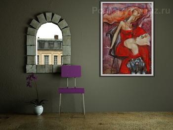 Модульная картина Дамочка в красном